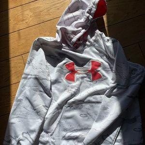 White and grey Under Armour sweatshirt, large